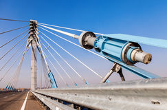 Kirovsky cable bridge across the Samara river Royalty Free Stock Photo