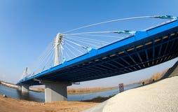 Kirovsky cable bridge across the Samara river in Kirovsky distri Royalty Free Stock Photos