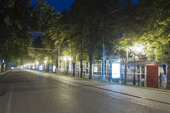 Kirovweg bij nacht, Pyatigorsk, Rusland Stock Afbeelding