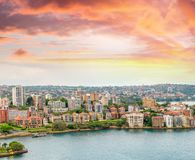 Kirribilli skyline at sunset, Sydney.  Royalty Free Stock Images
