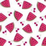 Kirsch- und Wassermelonenvektormuster Lizenzfreies Stockfoto