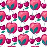 Kirschbeeren mit roten Äpfeln Nahtloses Muster des Vektors auf Weiß Vektor Abbildung