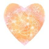 Kirschblüte-Blühen Herzform gefüllt mit Aquarellnachahmung Lizenzfreies Stockbild