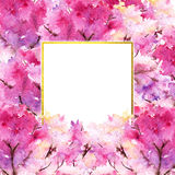 Kirschblüte-Blumenblumenbaums des Aquarells Rahmen-Grenzillustration des rosa Kirschromantische Stockbilder
