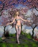 Kirschblüten-Fee mit Kirschbaumhintergrund Stockbild