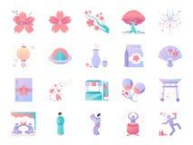 Kirschblüten-Festivalikonensatz Enthaltene Ikonen als Kirschblüte, Blühen, angemessen, Blume, Japan und mehr vektor abbildung