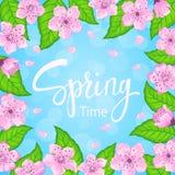 Kirschblütenfrühling blüht und grüne frische Blätter gestalten Hintergrund vektor abbildung