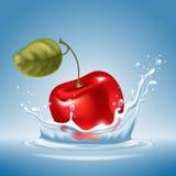 Kirsche im Wasserspritzen Stockfotos