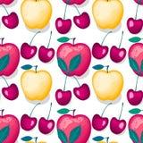 Kirsche mit nahtlosem Muster Apfel Vektors Lizenzfreie Abbildung