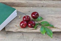 Kirsche und Buch Stockbild