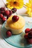 Kirschen und Muffin lizenzfreies stockfoto