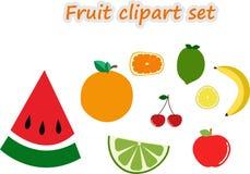 Kirscherdbeerganze Frucht und Scheibensatz lokalisierte Vektorillustrationen - Vektor lizenzfreie abbildung