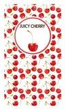 Kirschillustration eine quadratische Fahne auf einem weißen Hintergrund Das Design für Karten, Süßigkeiten, wird mit Kirschen, di Stockfoto