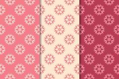 Kirschrot-Blumenverzierungen Satz vertikale nahtlose Muster Stockfotos