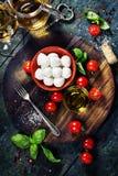 Kirschtomaten, Basilikumblätter, Mozzarellakäse und Olivenöl Lizenzfreies Stockfoto