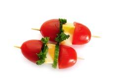 Kirschtomaten mit Mozzarella Lizenzfreies Stockfoto