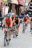 Kirsten Sweetland cycling leading a group Stock Photos