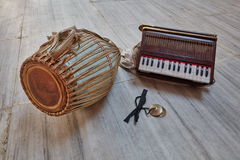 Kirtan instruments. Musical kirtan Indian instruments of Gaudiya  Vaishnava Hare Krishna tradition Stock Photography