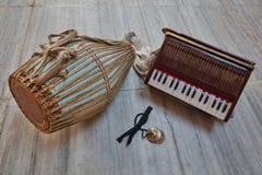 Kirtan instruments. Musical kirtan Indian instruments of Gaudiya Vaishnava Hare Krishna tradition royalty free stock images