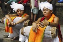 Kirtan Player Resting. Two kirtan player resting during Krishna's Mahesh Rath Yatra festival stock photos
