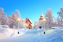 Kiruna cathedral Sweden. Kiruna cathedral Architecture at dusk, Lapland Sweden Royalty Free Stock Photo