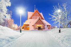 Kiruna church Sweden. Kiruna cathedral church Architecture Sweden at dusk twilight with star trail Royalty Free Stock Image