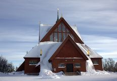 Kiruna church. Church of Kiruna town, elected as most beautiful building of Sweden by the population Stock Image
