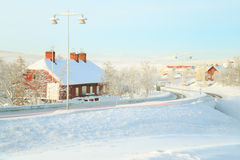 Kiruna Cityscape Train station. Kiruna Cityscape with Train Station Terminal lapland sweden Royalty Free Stock Photos