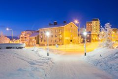 Kiruna Cityscape. Winter Kiruna Cityscape at dusk Royalty Free Stock Image