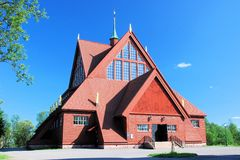Kiruna Kyrka wooden church in the shape of a tent Sweden. Kiruna Kyrka – Church in summer – One of Sweden's largest wooden buildings Church exterior is built Royalty Free Stock Images