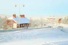 Kiruna-Stadtbild-Bahnstation Lizenzfreie Stockfotos