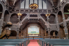 KIRUNA, SWEDEN- AUGUST 01, 2016: Kiruna Kyrka. Interior of the wooden  Kiruna Kyrka build in 1912. The church won the competention of most beautiful building in Royalty Free Stock Images
