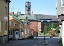 Kiruna Sweden Streetview van centrum aan ijzermijn, Stock Foto's