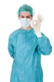 Kirurg som ger en göra perfektgest Royaltyfri Fotografi