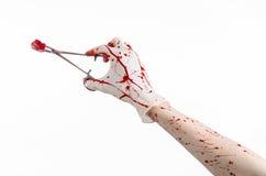 Kirurgi- och medicintema: utför den blodiga handen för doktorn i handsken som rymmer en blodig kirurgisk klämma med bomullstoppen Royaltyfri Foto