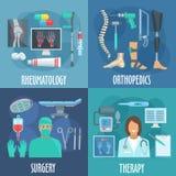 Kirurgi terapi som är ortopedisk, rheumatologysymboler vektor illustrationer