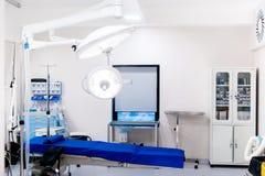 Kirurgiska lampor i tomt fungeringsrum Akutmottagninginre, moderna sjukhusdetaljer royaltyfri foto