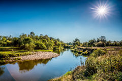 Kirzhach River in the autumn evening. Royalty Free Stock Images