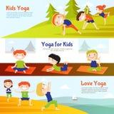 Kis Yoga Horizontal Banners Set Royalty Free Stock Photo