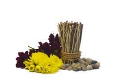 Kiselstenar, blommor och bambu Royaltyfria Bilder