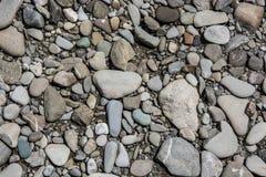 Kiselstenar på flodstranden Arkivfoton