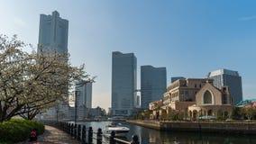 Kishamichi散步时间间隔有樱花的在Minato Mirai,横滨,日本 股票录像