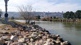 Kishon flod Haifa royaltyfri fotografi