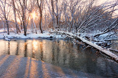 Kishwaukee Fluss-Sonnenuntergang Lizenzfreie Stockbilder