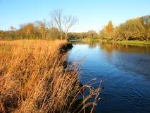 Kishwaukee River - Illinois. The Kishwaukee River flows through Illinois on a beautiful fall day Stock Photo