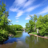 Kishwaukee River in Illinois. Beautiful skies over the Kishwaukee River in Illinois Stock Photo