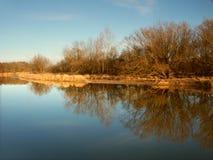 Kishwaukee River in Illinois. Kishwaukee River under evening sunlight in Illinois Royalty Free Stock Photo