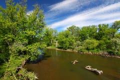 Kishwaukee River Landscape Illinois. Beautiful blue skies on a spring day along the Kishwaukee River of Illinois Stock Photography