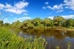 Kishwaukee River Landscape Illinois. The Kishwaukee River flows through Illinois on a beautiful day Royalty Free Stock Photos