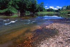 Kishwaukee River Landscape Illinois. Swift current of the Kishwaukee River in Boone County Illinois Stock Photos